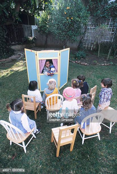 birthday puppet show - puppet show stock photos and pictures
