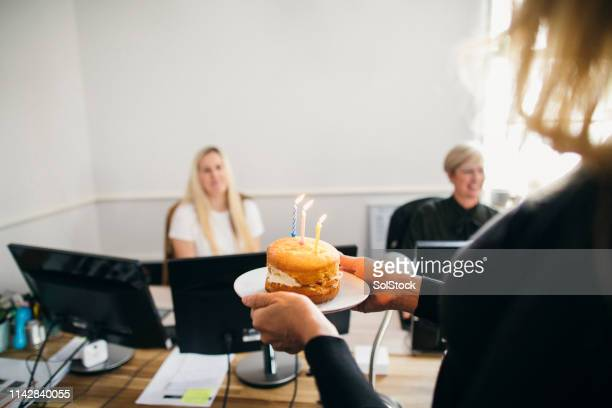 birthday surprise at work - donate stock pictures, royalty-free photos & images