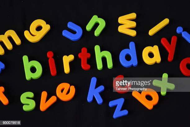 Birthday written with toy blocst