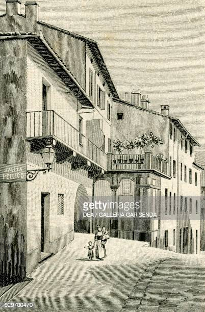 Birthplace of the Italian patriot Silvio Pellico Saluzzo Piedmont Italy woodcut from Le cento citta d'Italia illustrated monthly supplement of Il...