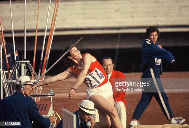 Birute Kalediene of Soviet Union competes in the Women's Javelin Throw during the Tokyo Olympics at the National Stadium on October 16 1964 in Tokyo...
