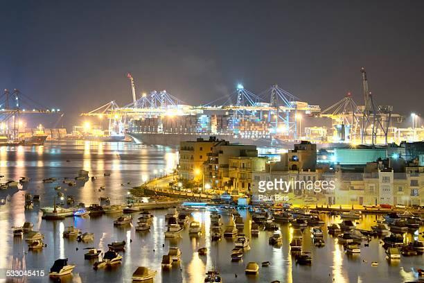 Birzebbuga harbour and Malta Freeport by night