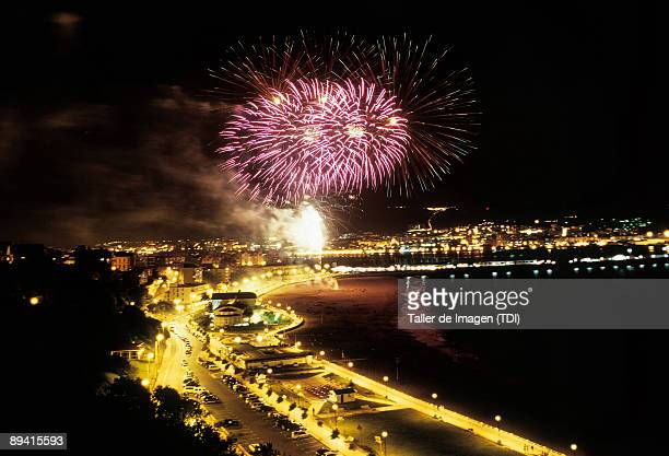 Biscay Basque Country Firewoks in the beach of Ereaga during the San Ignacio Fiesta Photo by Taller de Imagen /Cover/Getty Images