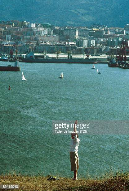 Biscay Basque Country Old woman making sport in the Galea Promenade Getxo Biscay Photo by Taller de Imagen /Cover/Getty Images
