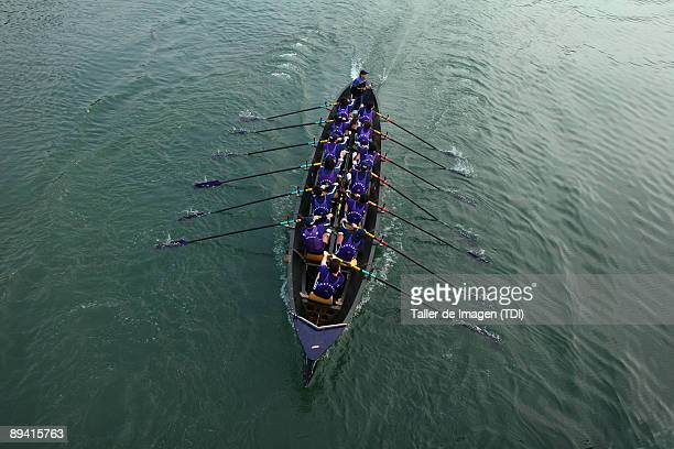 Biscay Trainera in the river of Plrencia Biscay Photo by Taller de Imagen /Cover/Getty Images