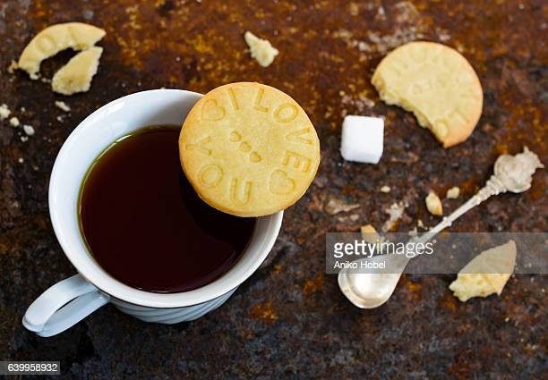 biscuit and tea breakfast - aniko hobel stock pictures, royalty-free photos & images