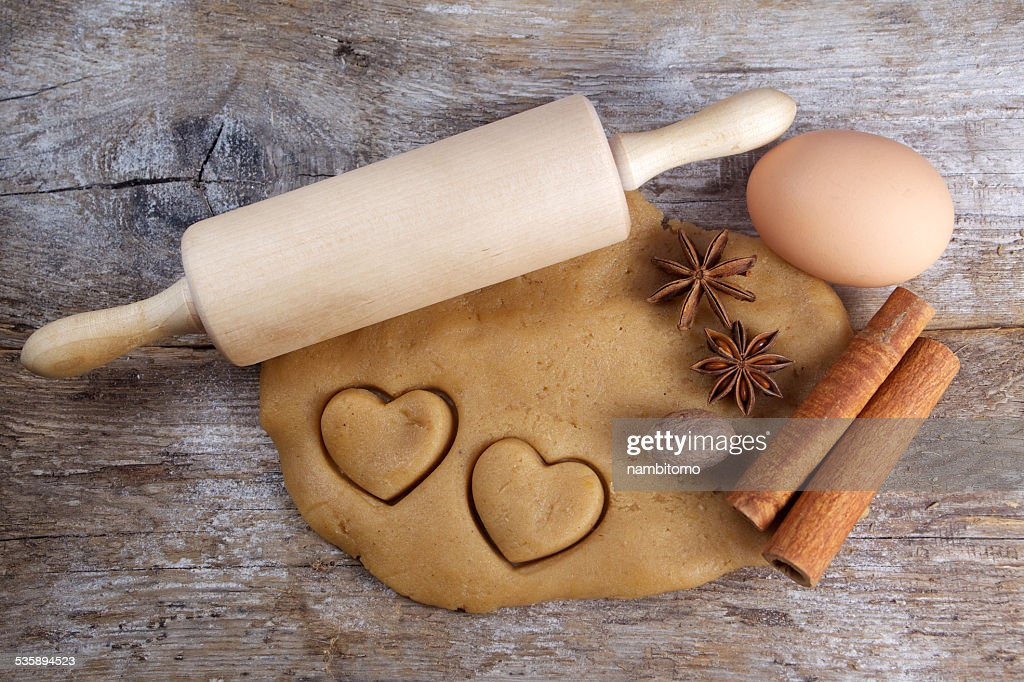 Biscuit dough with spices and tools : Stock Photo