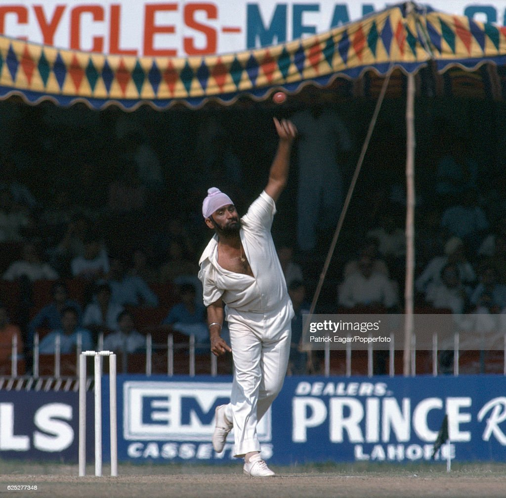 Bishan Bedi bowling for India during the 2nd Test match between Pakistan and India at the Gaddafi Stadium Lahore Pakistan 28th October 1978