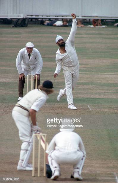 Bishan Bedi of Northamptonshire bowling to Barry Richards of Hampshire during the County Championship match between Hampshire and Northamptonshire at...