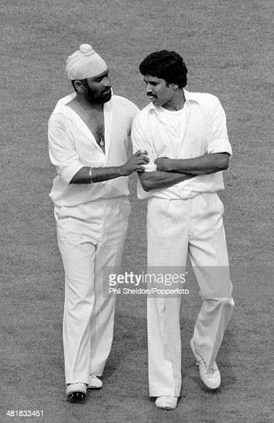 Bishan Singh Bedi and Kapil Dev of India during the 2nd Test Match between England and India at Lord's Cricket Ground in London 4th August 1979 The...