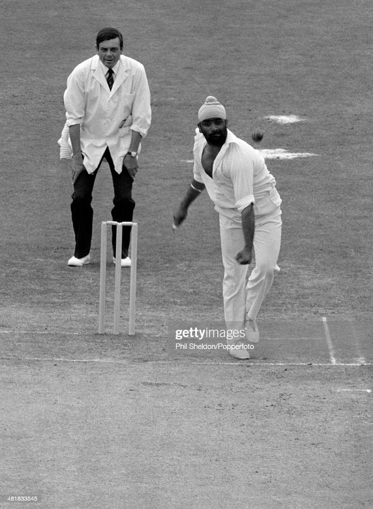 Bishan Singh Bedi (Bishen Singh Bedi) bowling for India during the 2nd Test Match between England and India at Lord's Cricket Ground in London, 4th August 1979. The umpire is Dickie Bird. The match ended in a draw.