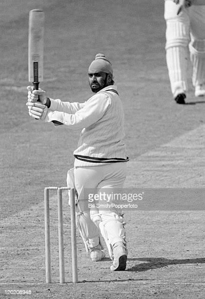 Bishen Singh Bedi batting for Northamptonshire circa 1973