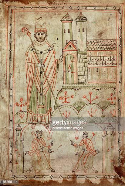 Bishop Altmann of Passau from the Codex 'Explicatio symboli' Pen on parchment Monastery Goettweig Austria Around 1180 [Bischof Altmann von Passau Aus...