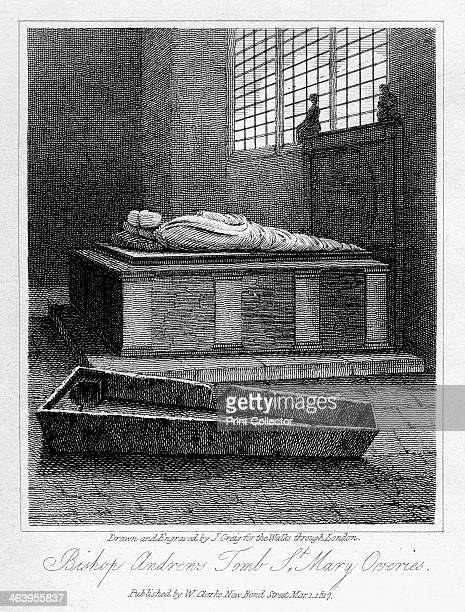 Bishop Andrew's tomb St Mary Overie's Church Southwark London 1817 The church was later known as St Saviour's before becoming Southwark Cathedral in...