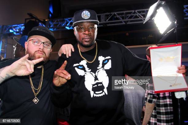 Bishop Brigante of KOTD and Rapper Head ICE winner of Blackout 7 attends KOTD Blackout 7 rap battle at Capitol Event Theatre on April 15 2017 in...
