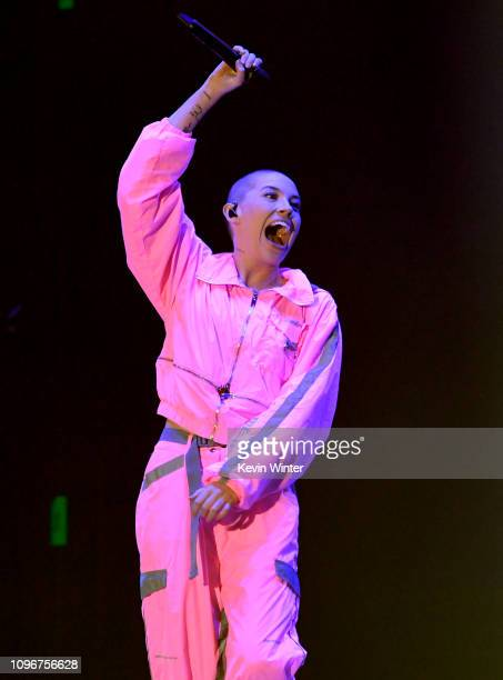 USE>> Bishop Briggs performs on stage during 2019 iHeartRadio ALTer Ego at The Forum on January 19 2019 in Inglewood California