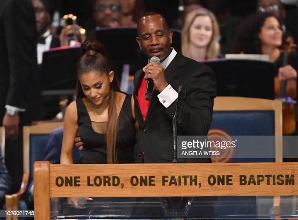 Bishop Charles Ellis chats with Ariana Grande after her performance at the funeral for Aretha Franklin at the Greater Grace Temple on August 31 2018...