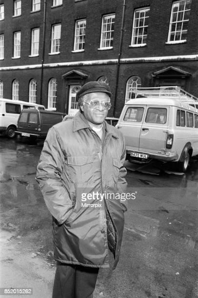 Bishop Desmond Tutu arriving at Kings College for a press conference London 17th November 1984