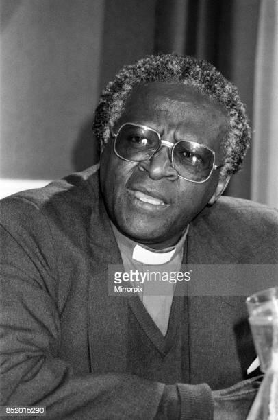 Bishop Desmond Tutu at Kings College during a press conference London 17th November 1984