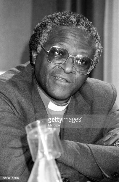 Bishop Desmond Tutu at Kings College during a press conference London 17th November 1984