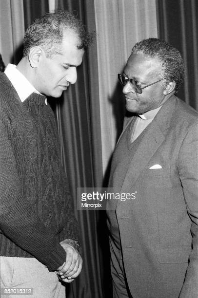 Bishop Desmond Tutu at Kings College for a press conference pictured in discussion with the lawyer representing the Durban Three Zak Yacoob London...
