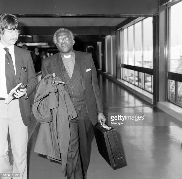 Bishop Desmond Tutu en route from South Africa to Vancouver at Heathrow Airport 5th August 1983