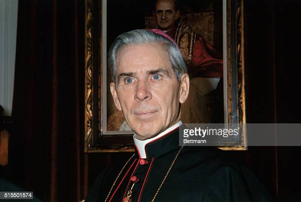 Bishop Fulton J Sheen at a News Conference October 26th following the announcement that pope Paul named Sheen as bishop of the Roman Catholic Diocese...