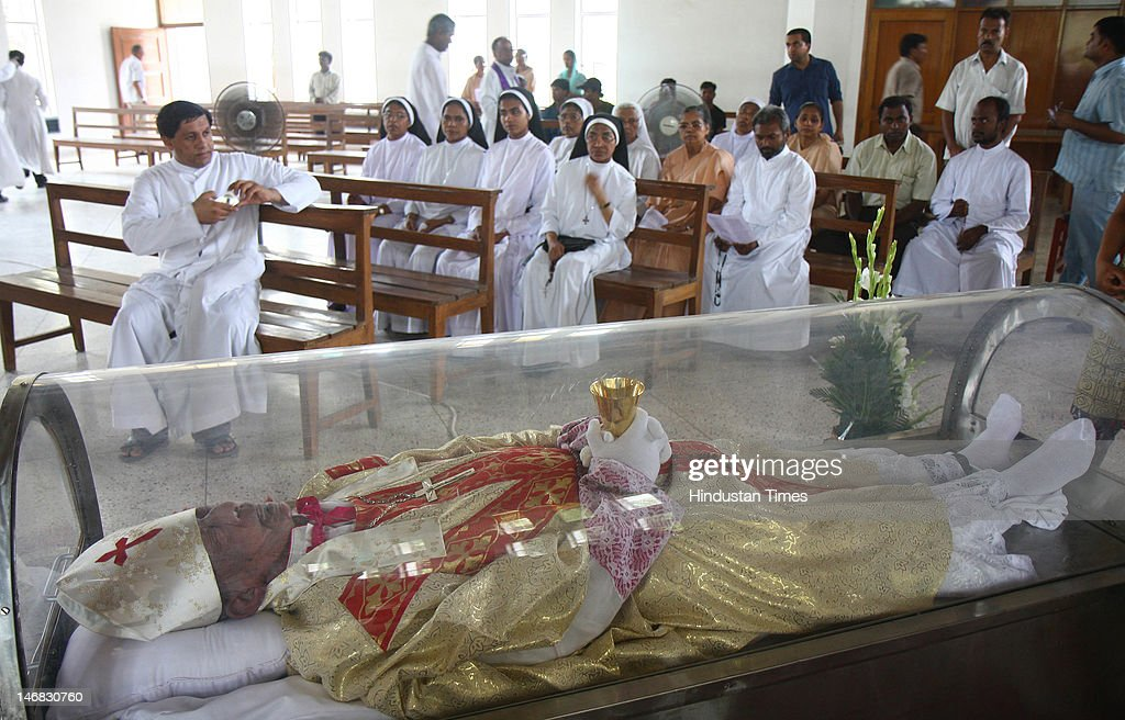 Bishop Gilbert Blaize Rego of the Shimla and Chandigarh Diocese lies in state in Sector 19 on June 23 2012 in Chandigarh India Gilbert Blaize Rego...