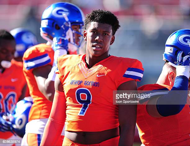 Bishop Gorman tight end Brevin Jordan is seen before the start of the NIAA class 4A championship game against the Liberty Patriots on December 03 at...