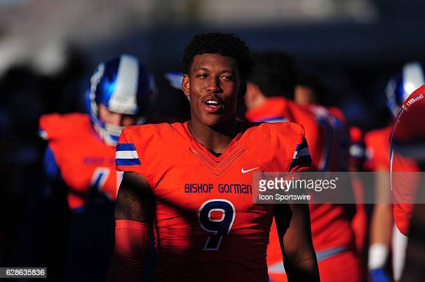 Bishop Gorman tight end Brevin Jordan is seen on the sidelines in the second half of the NIAA class 4A championship game against the Liberty Patriots...