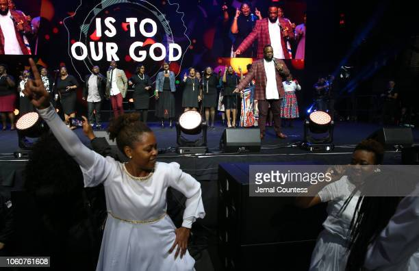 Bishop Hezekiah Walker and Praise Dancers appear on stage during Peace Starts With Me concert at Nassau Coliseum on November 12 2018 in Uniondale New...