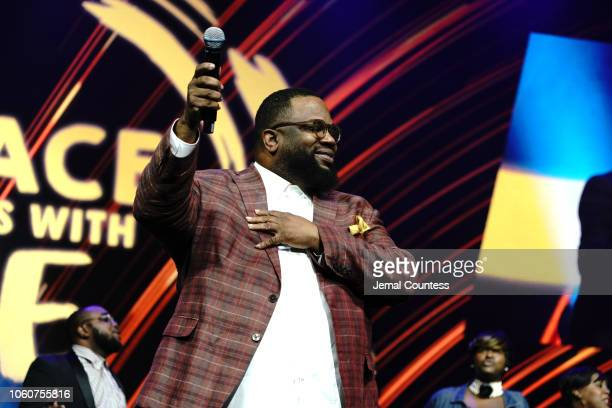 Bishop Hezekiah Walker appears on stage during Peace Starts With Me concert at Nassau Coliseum on November 12 2018 in Uniondale New York