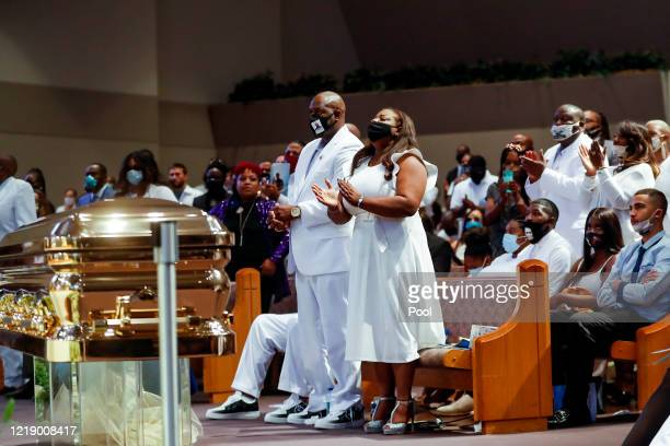 Bishop James E Dixon II introduces the Rev Al Sharpton during the funeral for George Floyd at The Fountain of Praise church on June 9 2020 in Houston...