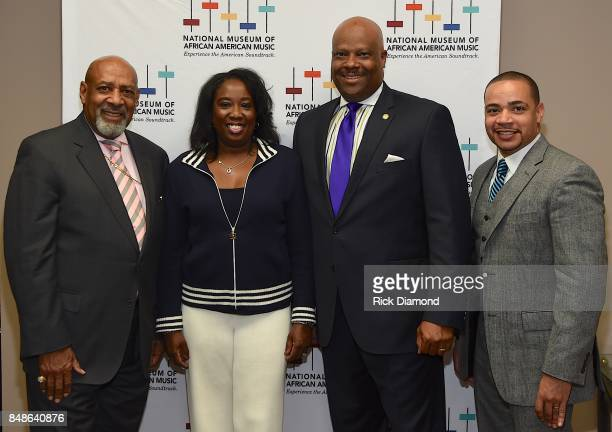 Bishop Jerry Maynard Director of Development Lolita Toney President and CEO NMAAM H Beecher Hicks and Pastor John Faison arrive at an Evening with...