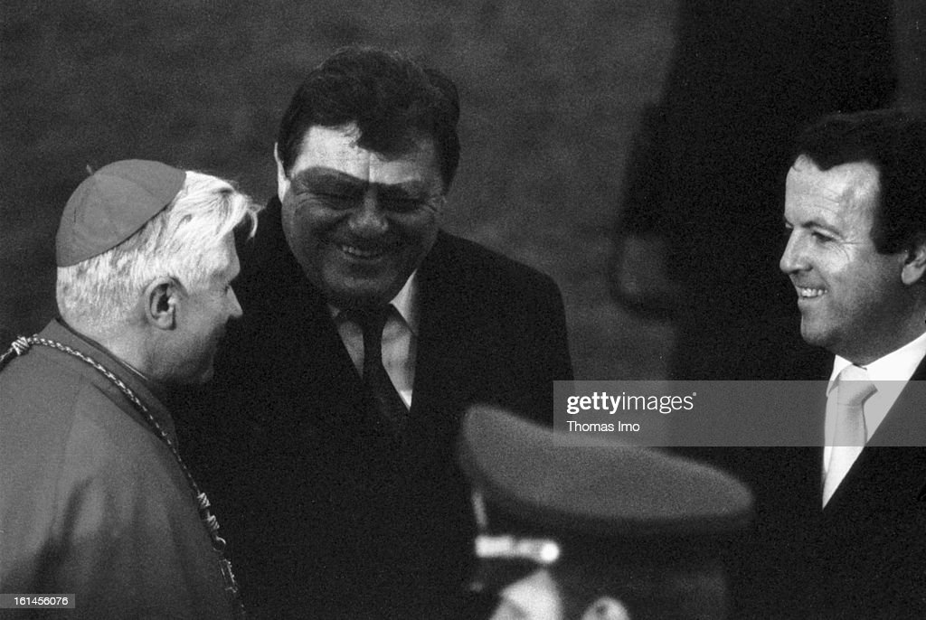 Bishop Josef Ratzinger, Premier of German Stata Bavaria Franz Josef Strauss and Gerold Tandler on November 18, 1980 in Altoetting , Germany.
