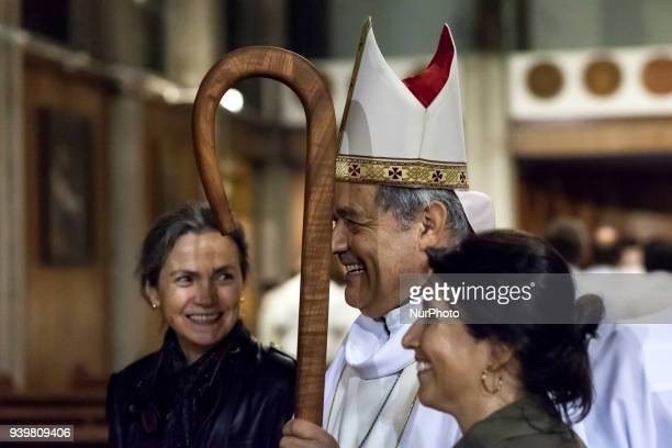 Bishop Juan Barros presided over the Chrism Mass in the Cathedral of Osorno Chile on 29 March 2018 one of the ceremonies that Christians celebrate...