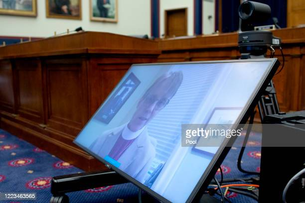Bishop Mariann Budde of the Esiscopal Diocese of Washington appears remotely at a US House Natural Resources Committee hearing examining Park Police...