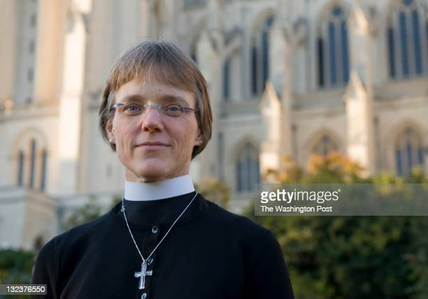 Bishop Mariann Budde poses for a portrait in the Bishop's Garden on the grounds of the Washington National Cathedral in Washington DC on Tuesday...