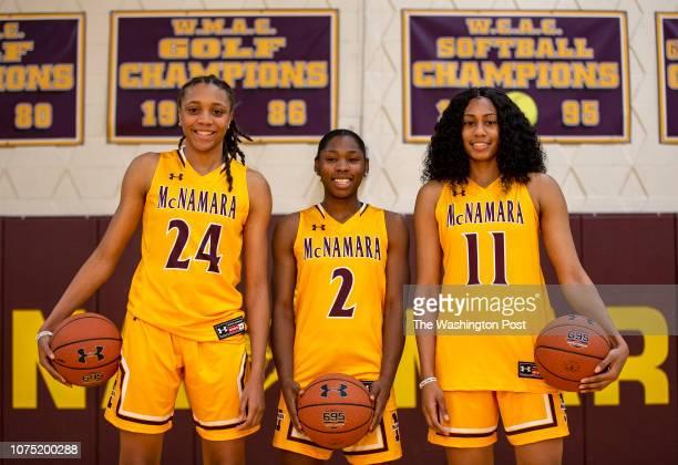 Bishop McNamara varsity girls basketball standouts Madison Scott Aliyah Matharu and Jakia BrownTurner at Bishop McNamara high school in Forestville...