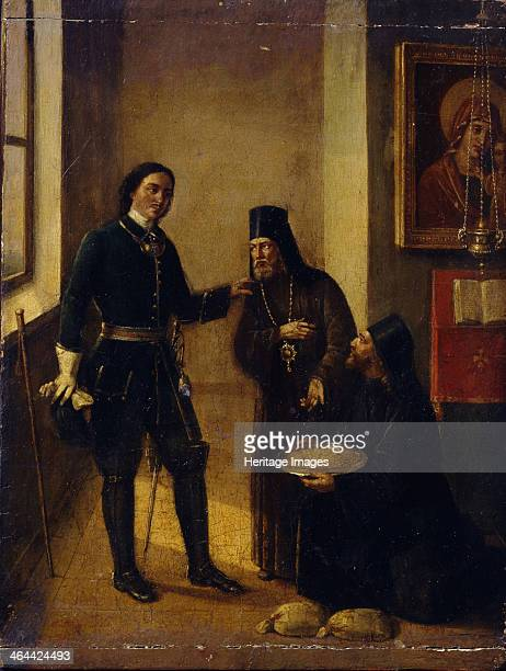 Bishop Mitrophan of Voronezh donating to Peter I for the Azov fleet construction on 1696 1857 Found in the collection of the State Tretyakov Gallery...
