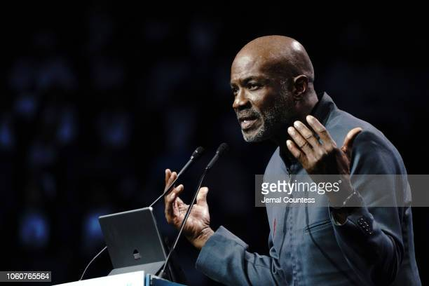Bishop Noel Jones appears on stage during Peace Starts With Me concert at Nassau Coliseum on November 12 2018 in Uniondale New York