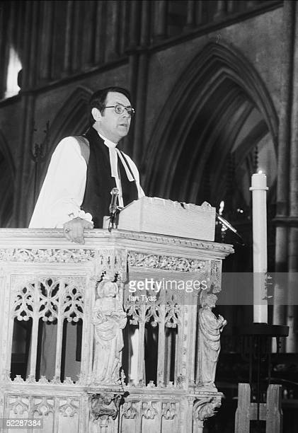 Bishop of Liverpool and former England cricketer the Reverend David Sheppard gives the address during the memorial service for England and Surrey...