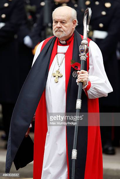 Bishop of London Richard Chartres attends the annual Remembrance Sunday Service at the Cenotaph on Whitehall on November 8 2015 in London England The...