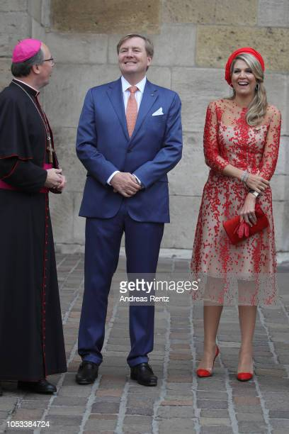 Bishop Stephan Ackermann welcomes King WillemAlexander of The Netherlands and Queen Maxima of The Netherlands upon their arrival at the High...