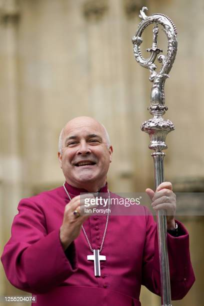 Bishop Stephen Cottrell reacts as he addresses members of the congregation outside the West Door of York Minster following his Confirmation of...