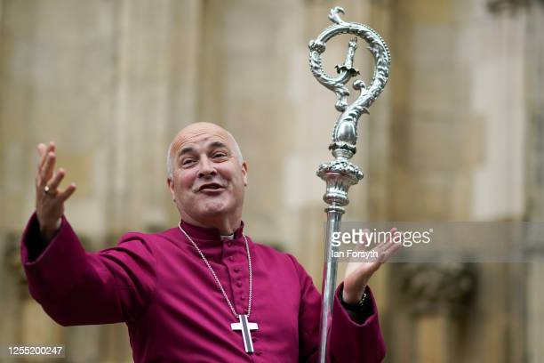 Bishop Stephen Cottrell walks through the West Door of York Minster to speak to members of the public following his Confirmation of Election as the...