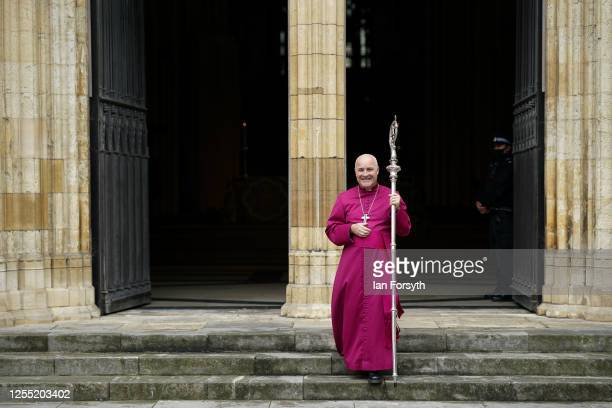 Bishop Stephen Cottrell walks through the West Door of York Minster following his Confirmation of Election as the 98th Archbishop of York on July 09...