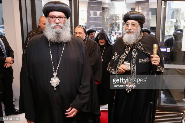 Bishop Suriel and Pope Tawardros II enter the new Coptic Church on September 10, 2017 in Melbourne, Australia. Pope Tawardros II is on a 10 day...