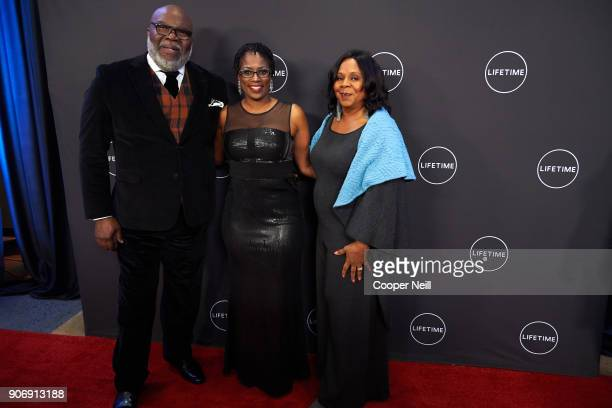 """Bishop T.D. Jakes, Antoinette Tuff and Serita Jakes pose for a photo during the premiere of """"Faith Under Fire: The Antoinette Tuff Story"""" at the..."""
