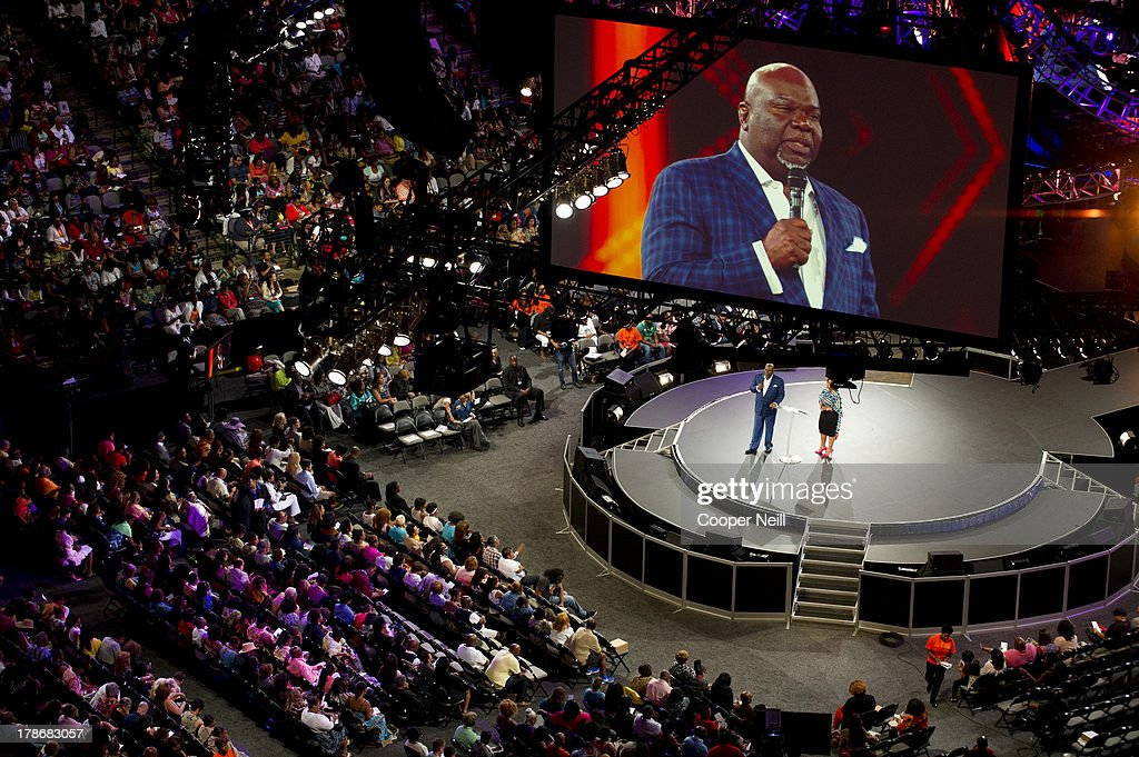 Bishop T.D. Jakes speaks during MegaFest at the American Airlines Center on August 30, 2013 in Dallas, Texas.